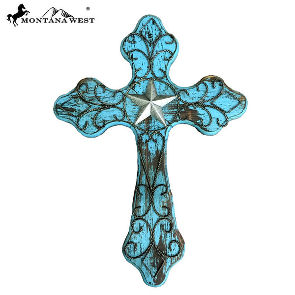 "Montana West Turquoise Lone-Star Wood Wall Cross 25"" - Pockets and Pearls"