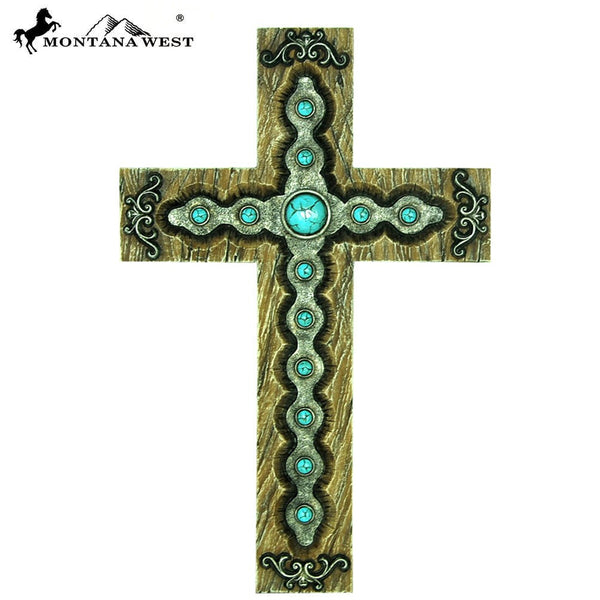 "Montana West Turquoise Stones Wood Like Resin Wall Cross 15"" - Pockets and Pearls"