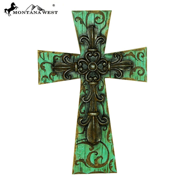 "Montana West Turquoise Wood-Like FDL Resin Wall Cross 14"" - Pockets and Pearls"