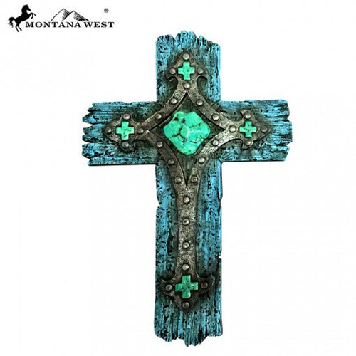 Montana West Rustic Turquoise Resin Texture Wall Cross - Pockets and Pearls®
