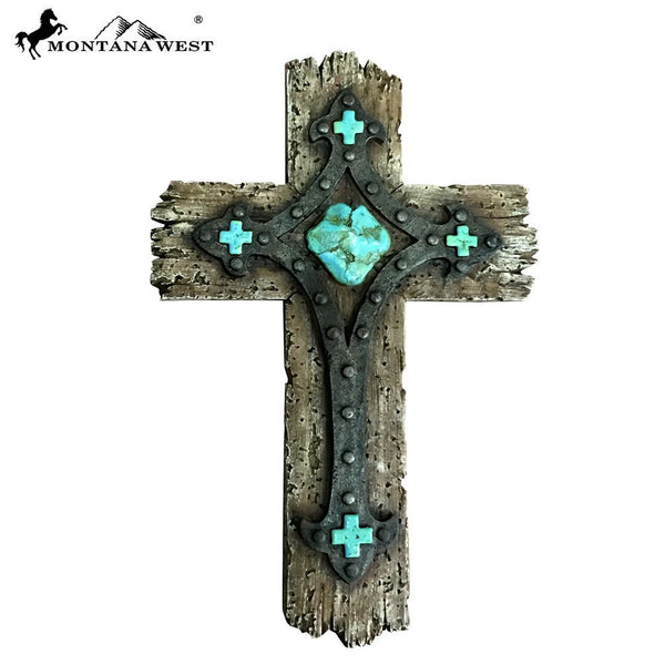 "Montana West Rustic Resin Texture Wall Cross 12"" - Pockets and Pearls"