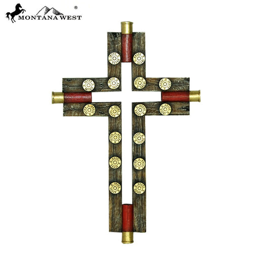 "Montana West Faux Wooden Shotgun Shell Resin Wall Cross 12"" - Pockets and Pearls®"