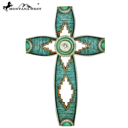 "Montana West Concho Turquoise Color Resin Wall Cross 15"" - Pockets and Pearls"