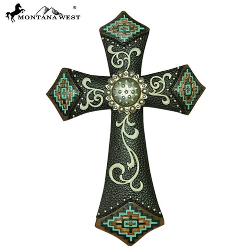 Montana West Leather-Like Aztec Resin Wall Cross - Pockets and Pearls®