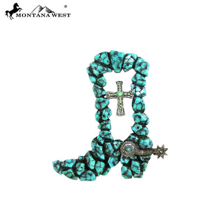 Montana West Turquoise Stones Wood Like Resin Wall Cross