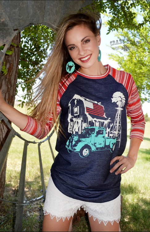 Baseball Red White and Blue Truck Tee - Pockets and Pearls