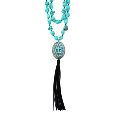 Montana West Tassel Turquoise Concho Cross Necklace