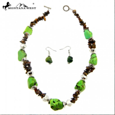 Montana West Brown and Green Nugget Necklace