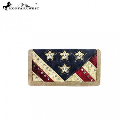 Montana West American Pride Collection Secretary Style Wallet - Pockets and Pearls