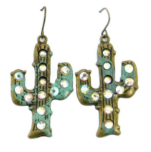 Cactus Motif Earring with AB Crystal - Pockets and Pearls®