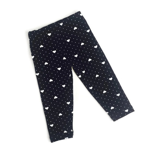 Girls black hearts and dots leggings - Size Newborn - 18 months