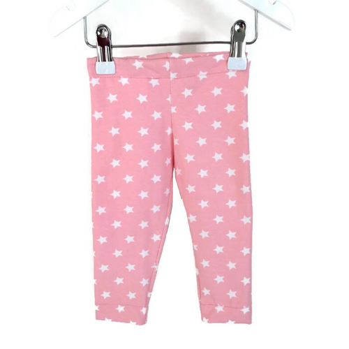 Girls babypink with white stars leggings - Size Newborn - 18 months