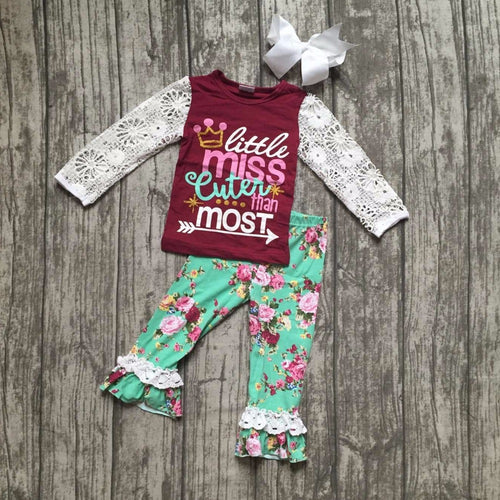 """Little Miss Cuter than Most"" Boutique Outfit with Bow"