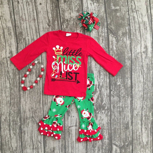"""Little Miss Nice List"" Santa Boutique Outfit with Accessories"
