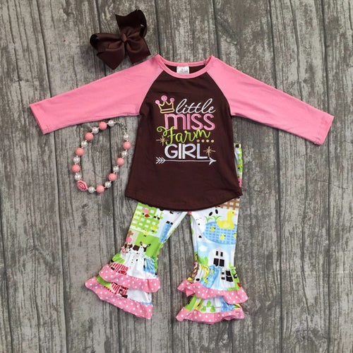 """Little Miss Farm Girl"" Boutique Outfit with Accessories"