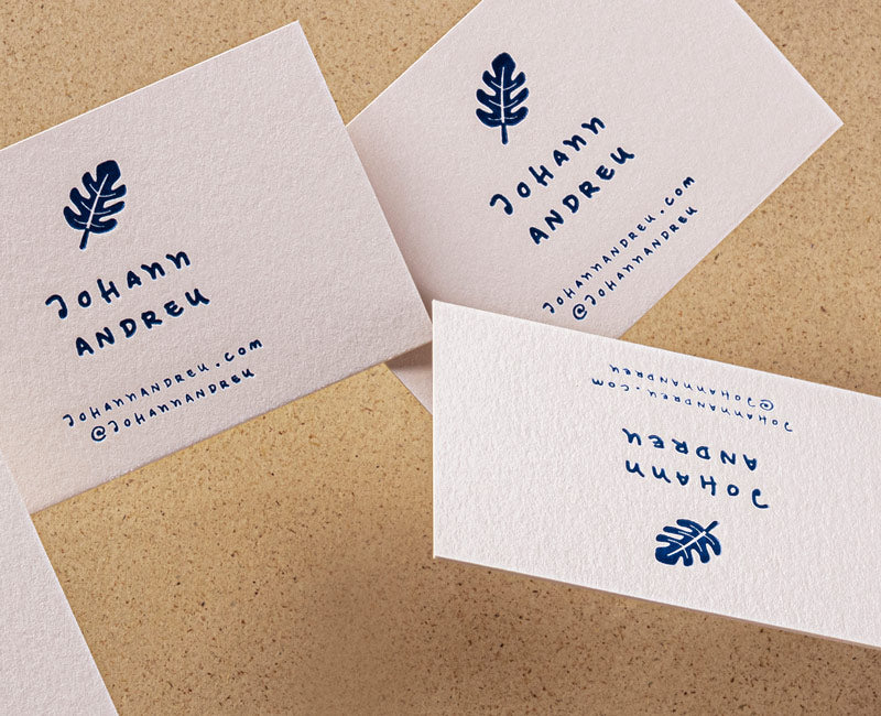 tarjetas letterpress en papel rugoso natural doble grosor