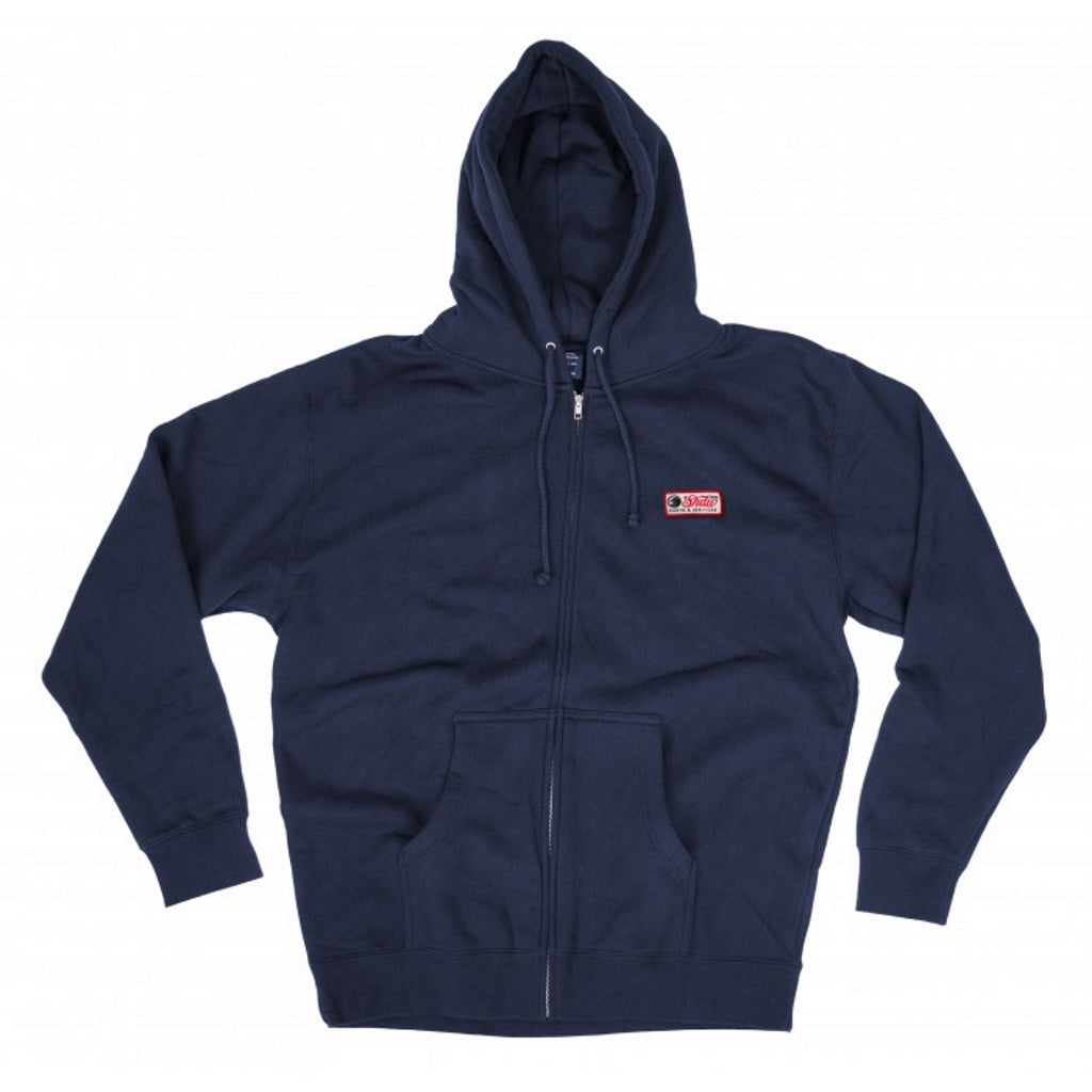Shadow Mechanic Zip Up Hooded Sweatshirt - Navy Blue Medium