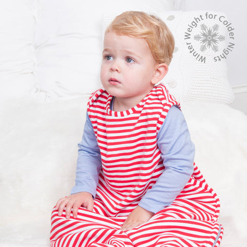 Merino Toddler Sleep Bag - Winter Weight - Red/White Stripe