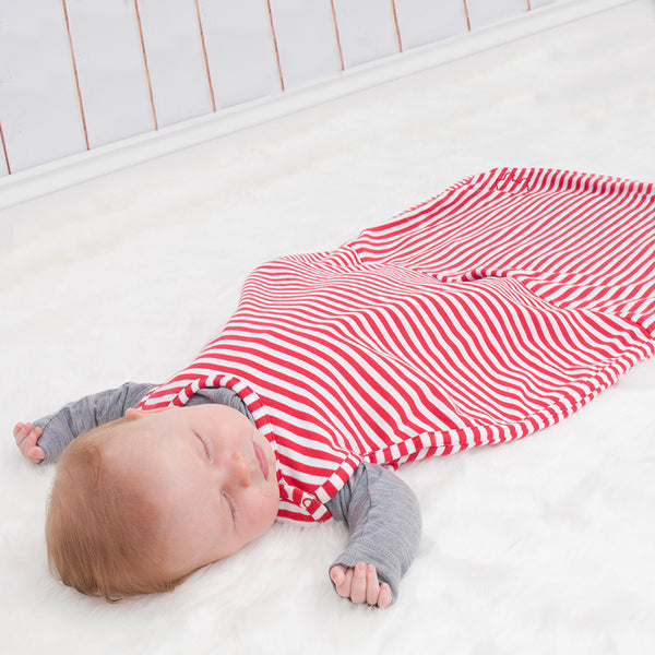 Merino Baby Sleep Bag - Travel Version - Red/White Stripe