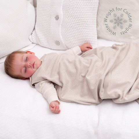 Merino Baby Sleep Bag - Winter Weight - Sand/Ivory Stripe