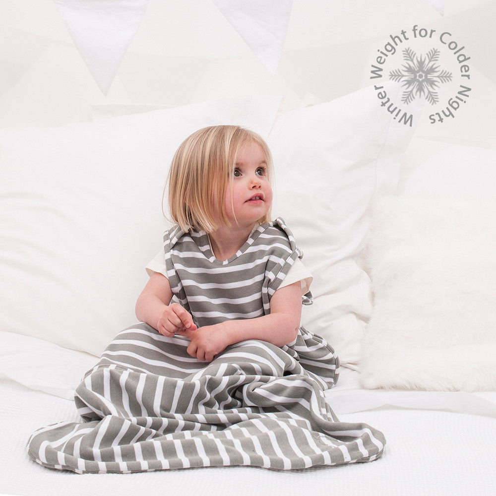 Merino Toddler Sleep Bag - Travel Version - Winter Weight - Sage Breton Stripe