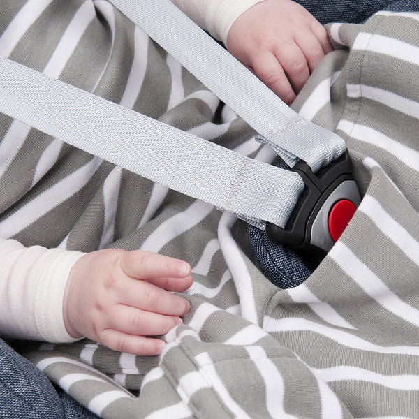 Merino Baby Sleep Bag - Winter Weight Travel Version - Sage Breton Stripe