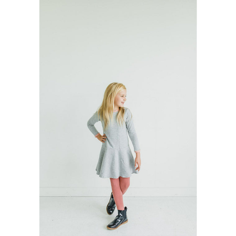 The Brooklyn Dress in Heather Grey/Blush