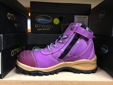 Otway Eureka steel Toe Side Zip women's Boots (Purple)