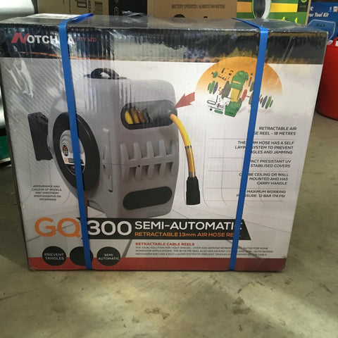 GQ 300 Semi Auto Retractable Air Hose Reel 13mm (18 metre)