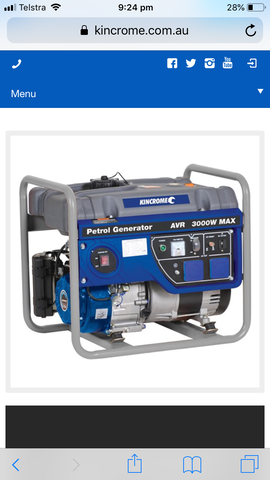 Kincrome 3000w Generator SPECIAL DEAL Pick Up Only