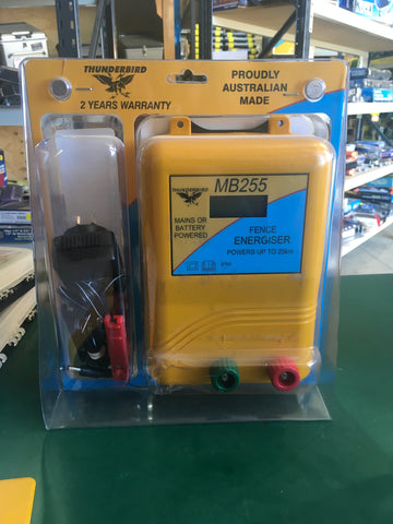 MB255 Mains/Battery Powered Fence Energiser 25km