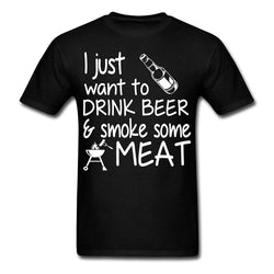 Mens Cotton Humour BBQ T-Shirt ~ Drink Beer Smoke Meat - 100% Cotton