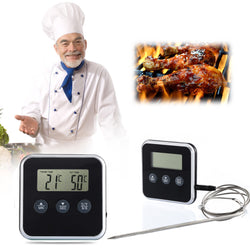 Professional Digital Kitchen Temperature Gauge with stainless steel probe and timer
