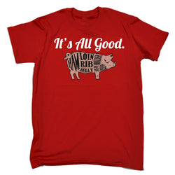 Mens Cotton Humour BBQ T-Shirt~ Its All Good Pork - 100% Cotton