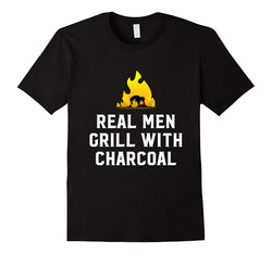 Mens Cotton Humour BBQ T-Shirt ~ Real Men Grill With Charcoal - 100% Cotton
