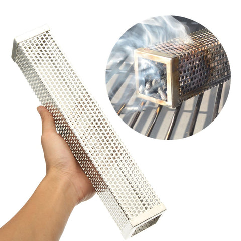 Stainless Steel Cube Wood Pellet Smoker BBQ Grill Hot Cold Smoking Mesh Tube~  Smoke