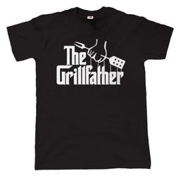 Mens Cotton Humour BBQ T-Shirt ~The Grillfather - 100% Cotton