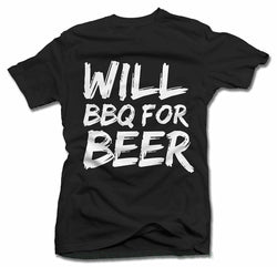Mens Cotton Humour BBQ T-Shirt ~ Will Bbq For Beer Bbq - 100% Cotton