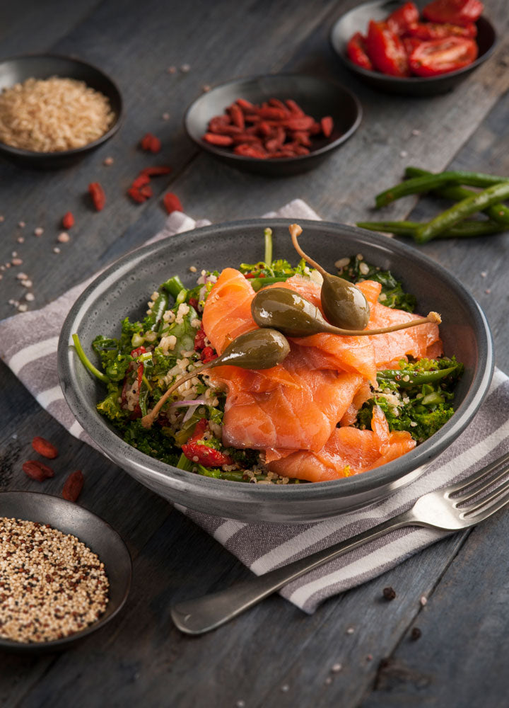 Smoked Salmon Super Bowl with Capers, Quinoa & Greens