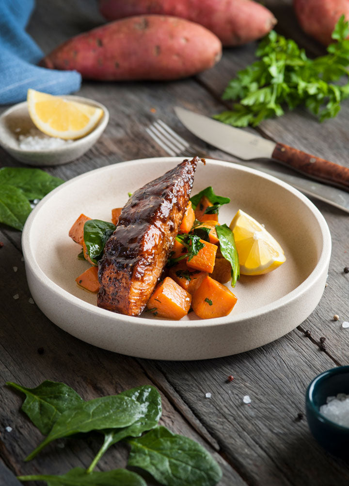 Korean Spiced Atlantic Salmon with Sweet Potato