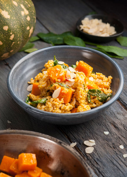 Brown Rice Risotto with Roast Pumpkin Herbs & Toasted Almonds