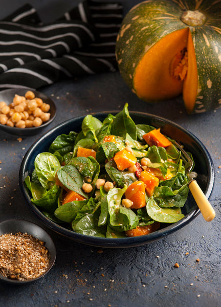 Roasted Pumpkin Baby Spinach & Chickpea