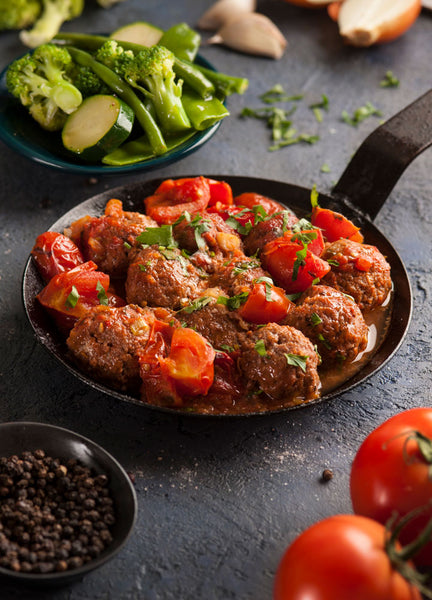 Angus Beef Balls with Rich Tomato Sauce and Vegetables