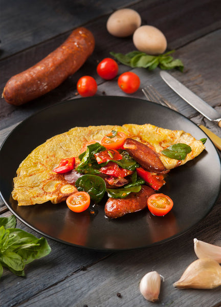 Omelette with Chorizo, Tomato & Baby Spinach