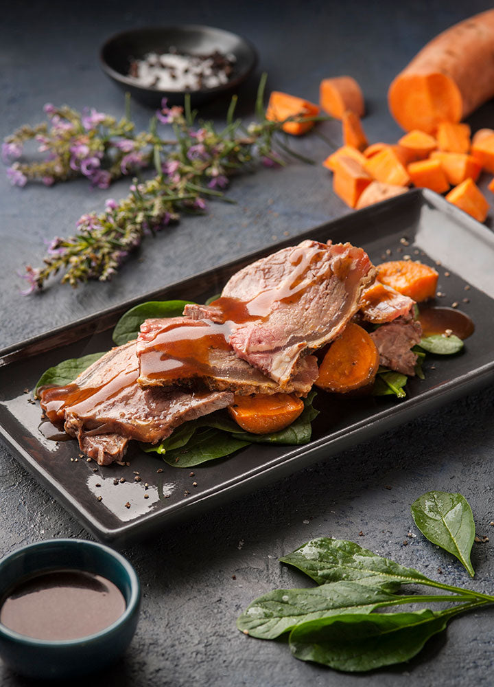 Roast Beef with Sweet Potato & Jus