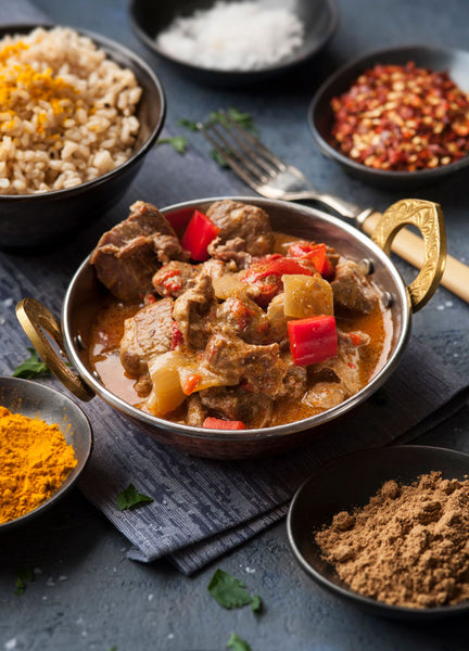 Lamb Rogan Josh with Brown Rice and Vegetables