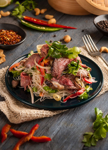 Thai Roasted Beef Salad with Rice Noodles & Cashews
