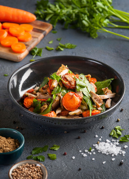 Roast Chicken and Baby Spinach Salad with Cumin Roast Carrots