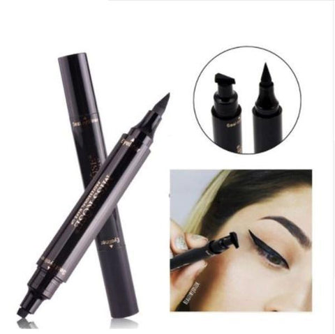 Black double pencil makeup eyeliner waterproof