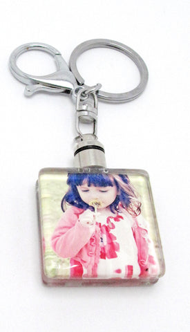 Crystal Glass Square Key Chain Photo Frame With LED Light 1.34\